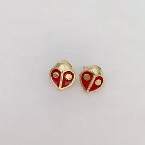 Kate Spade Gold-Tone Red Heart Ladybug Earrings